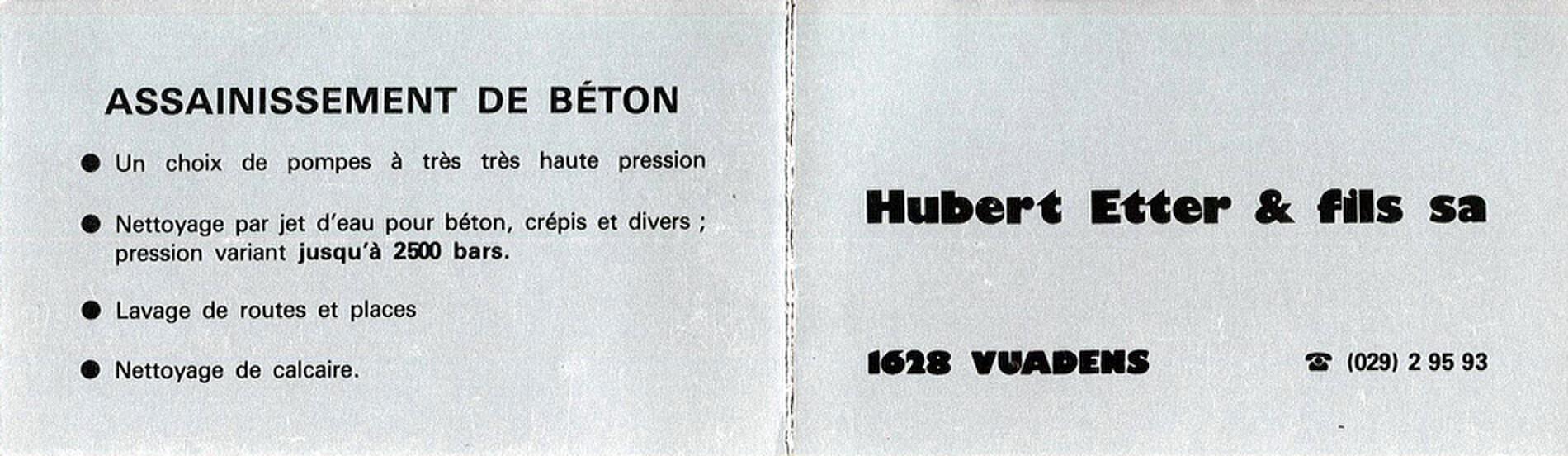 L'entreprise prend la raison sociale de Hubert Etter et Fils S.A.